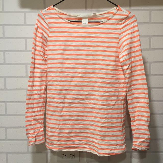 H&M 橘色條紋長袖上衣 全新