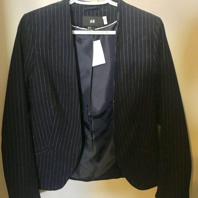 Flannel Pinstripe Navy Blazer