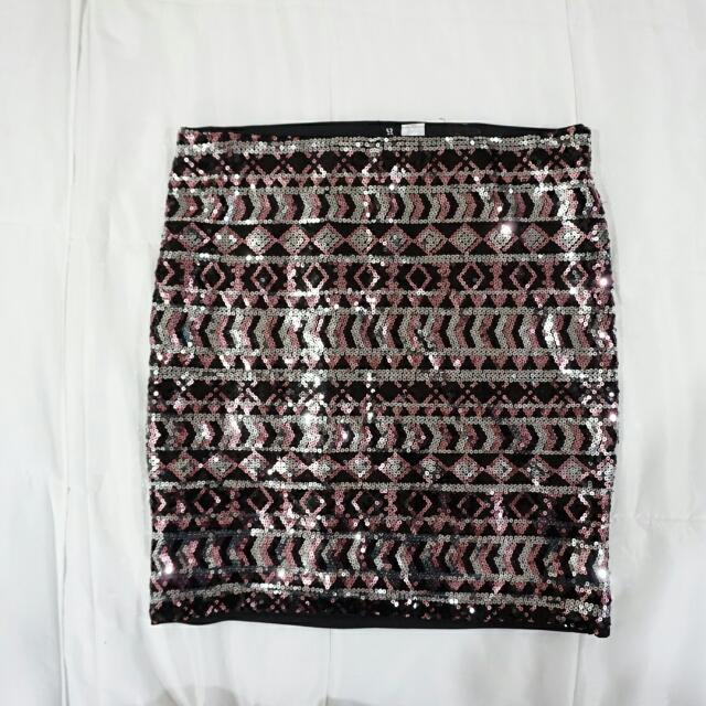 H&M Sequin Bandage Mini Skirt