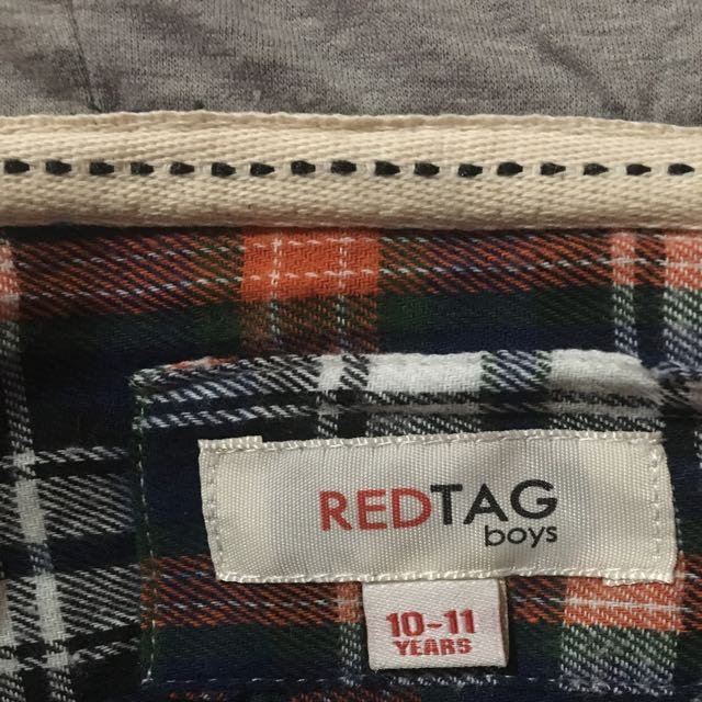 Hoodie Longsleeve Red Tag Checkered