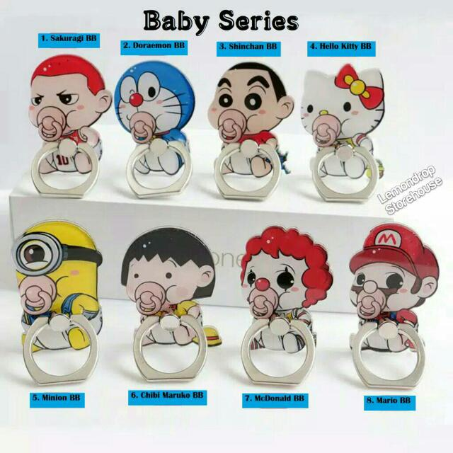 Iring Stand Ring Stent Holder Baby Cincin Penyangga Hp Bayi Dot Mario Bros Minion Doraemon Hello Kitty Slam Dunk