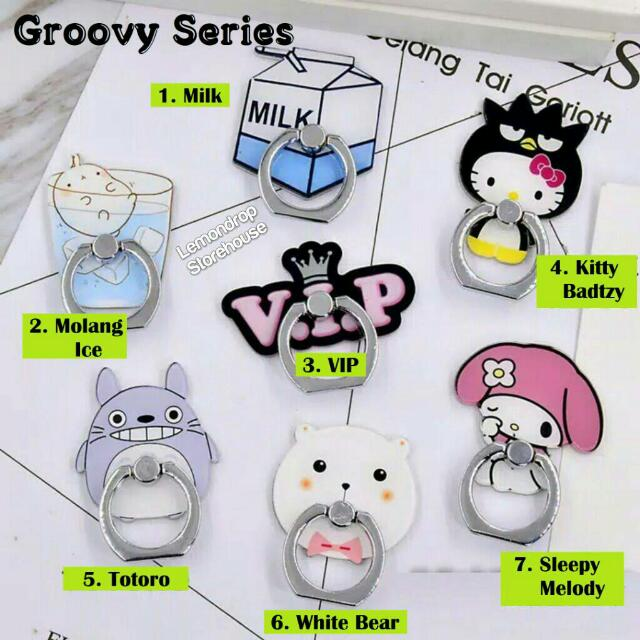 Iring Stand Ring Stent Holder Groovy Cincin Penyangga Hp Molang Totoro Melody Hello Kitty Badtz Maru