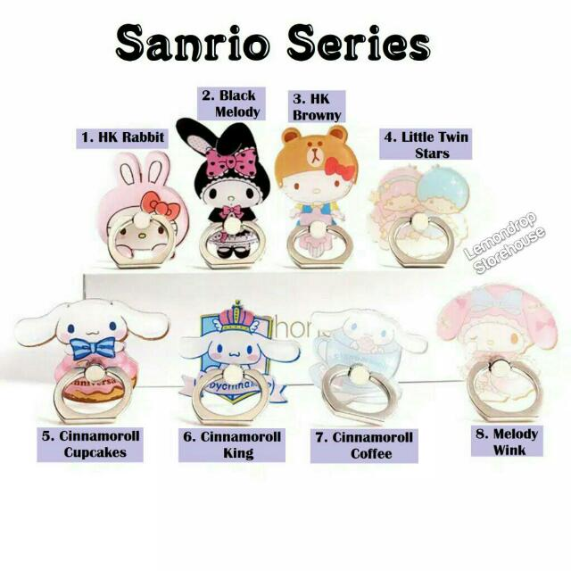 Iring Stand Ring Stent Holder Sanrio Cincin Penyangga Hp Hello Kitty My Melody Cinnamoroll Little Twin Stars