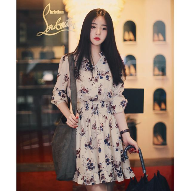 Korean Floral Dress with Bubble Sleeve