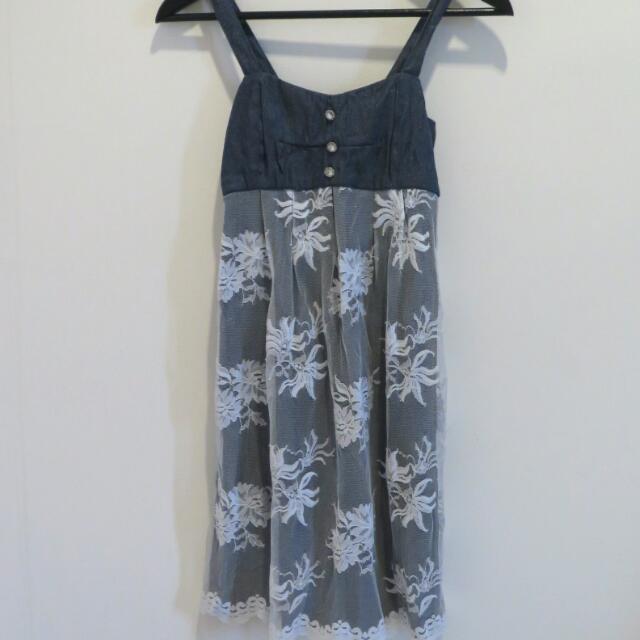 Lace Denim Mini Dress