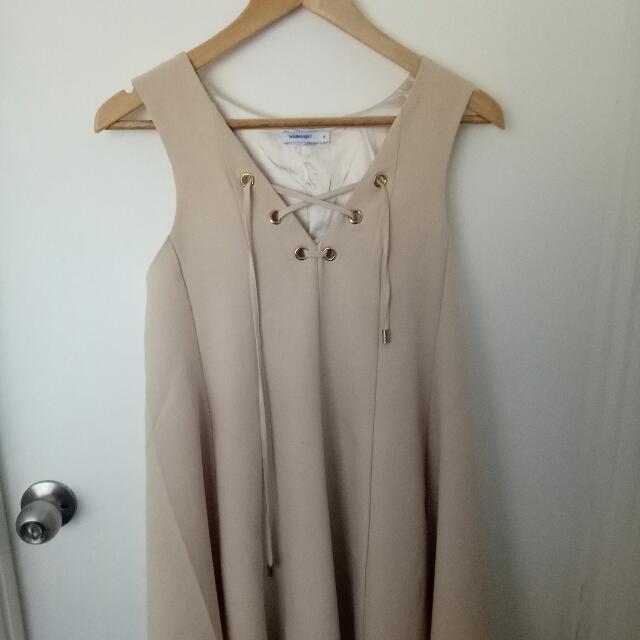 lace up nude dress