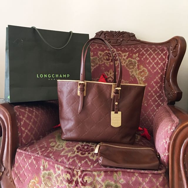 longchamp lm cuir leather brown with gold