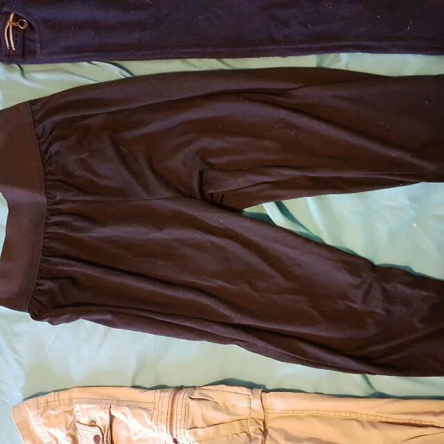 M C Hammer Type Pants Black 3/4 Length