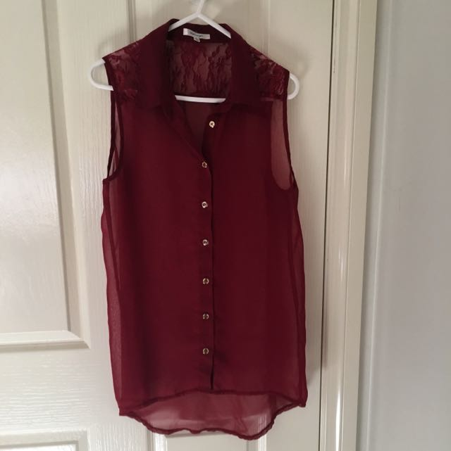 Maroon See Through Top With Lace Detail