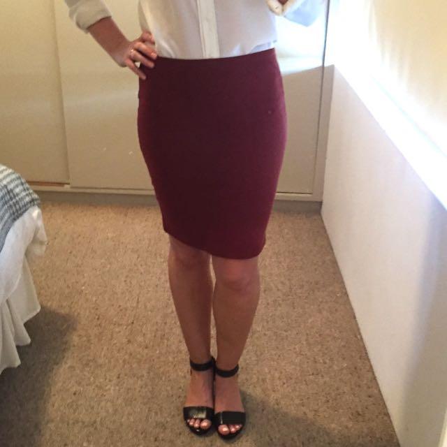 Maroon Witchery Tube Skirt, Size 8
