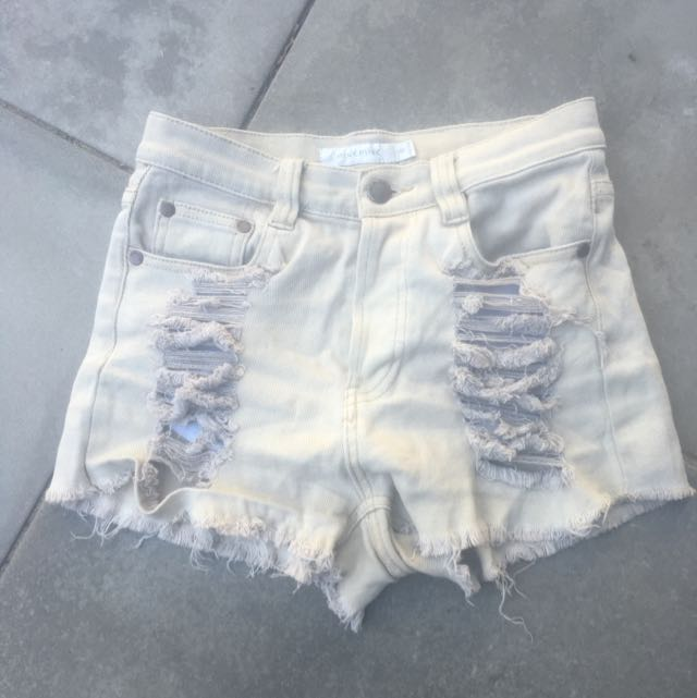 Minkpink Slasher Beige Denim Shorts 8