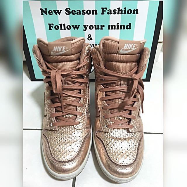 Nike Dunk Sky Hi 玫瑰金色增高鞋