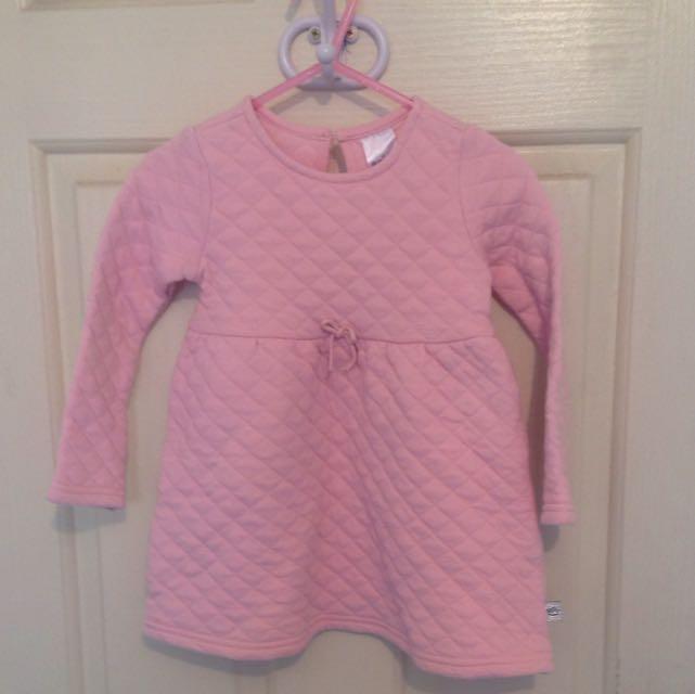 Pink Long Sleeve Winter Dress