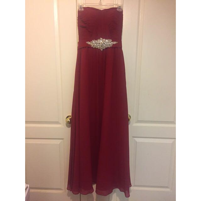 Raspberry Red Strapless Formal Dress