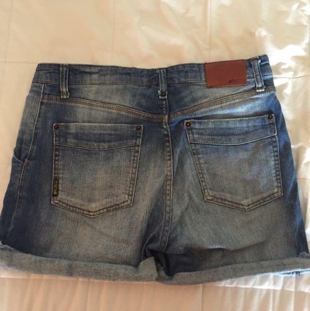 Rusty Raw Hem Denim Shorts