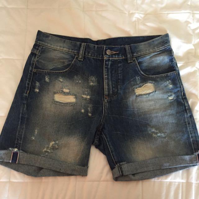 Rusty Raw Hem Distressed Denim Shorts
