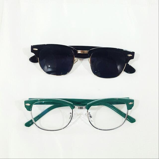 SET: Japanese Eyeglass Frame And Sunglasses