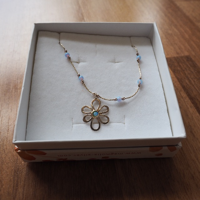 Silver Magnolia Necklace with Blue Beads
