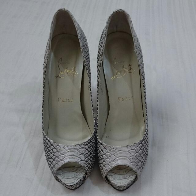 newest bd0ac 603d6 Reduced Price! Snake Skin Christian Louboutin 5 Inch Peeptoe Shoes,  Authentic, Worn Once, Size 38, Bought In HK many years ago