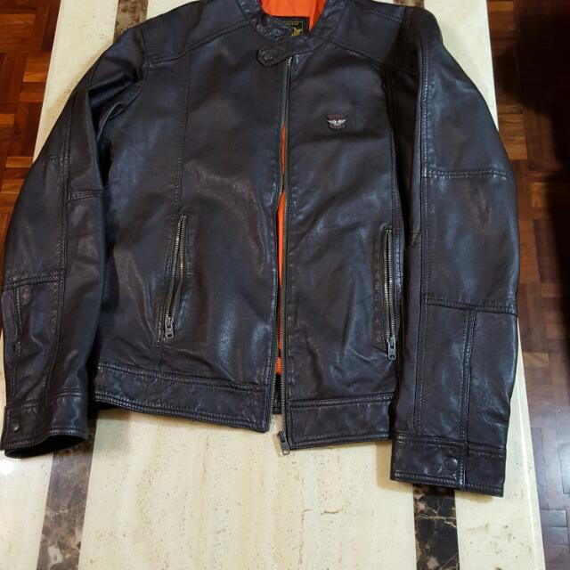 Superdry 真皮夾克 Large