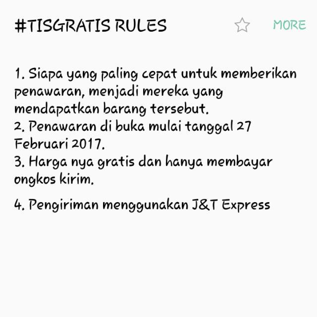 #TISGRATIS RULES