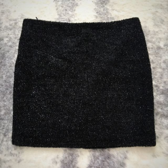 Topshop Black Mini Skirt Metallic Textured Size 10