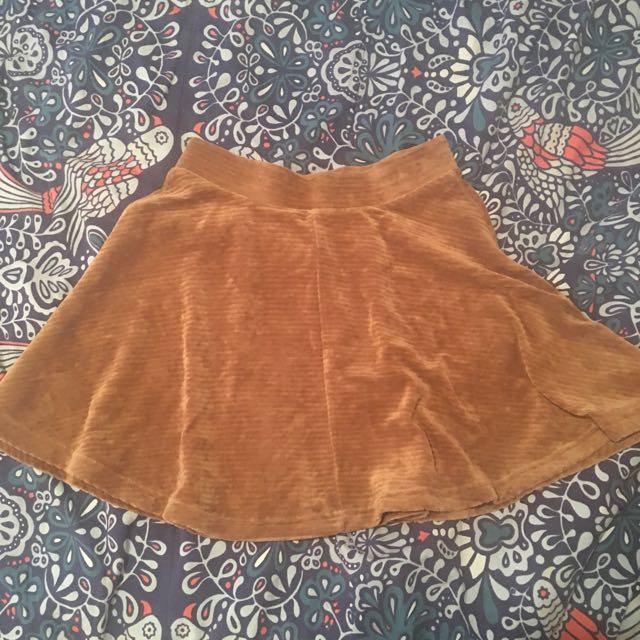 Topshop Brown Corduroy Skater Skirt
