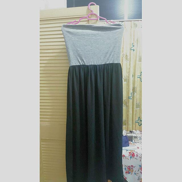 Tube Maxi Dress (Grey Black Combination)