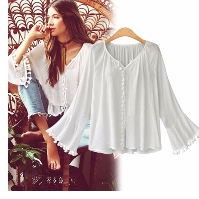 V Neck Top With Tassel Trumpet Sleeve