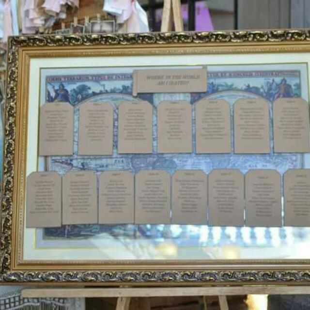 Vintage Style Map printed on Tarpaulin and Framed
