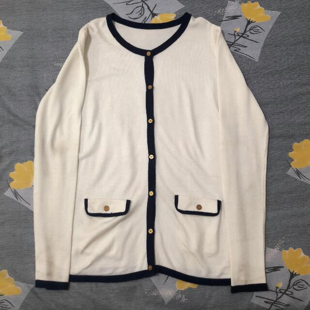 White Cardigan with Blue Lining details and pockets