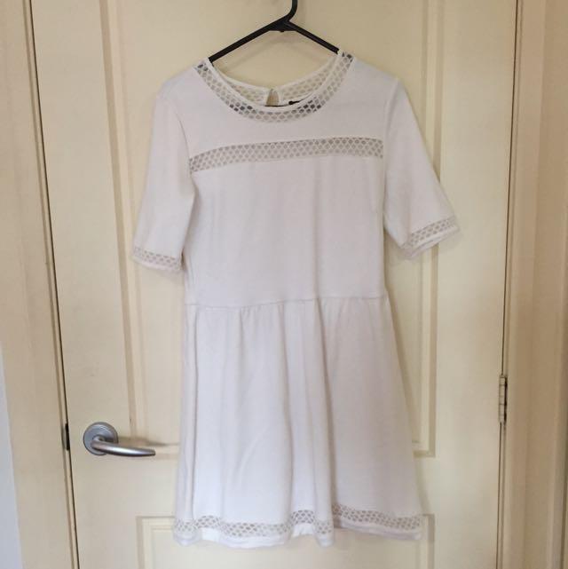 White Skater Dress With Mesh Like Details