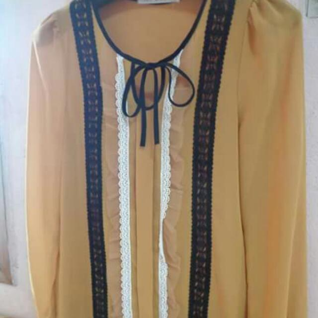 Yellow Long Sleeves Blouse