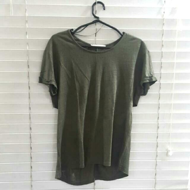 Zara Army Green/gold Shirt