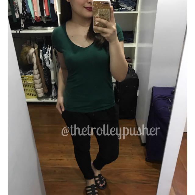 Zara Basic Green V-neck