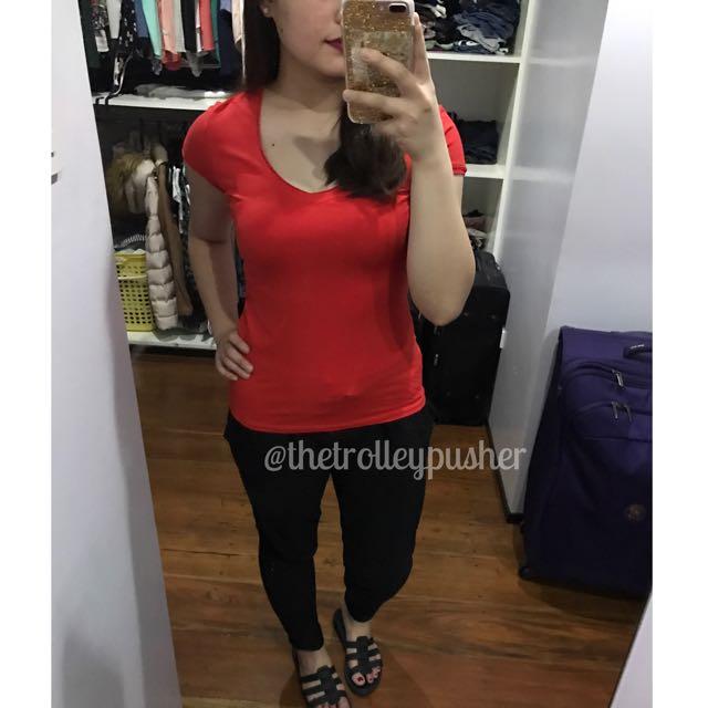Zara Basic Red V-neck