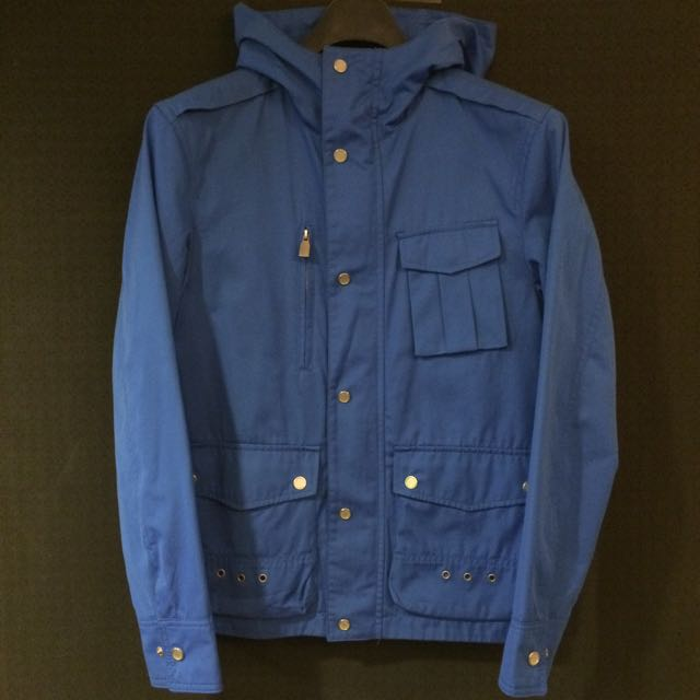 Zara Man Moda Windbreaker Sporty Blue 連帽風衣S