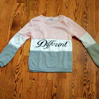 Pink, grey, and white sweater