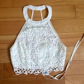 F21 Crochet Halter Crop Top