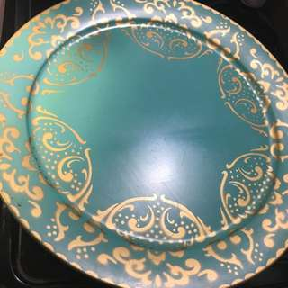 """Beautiful Teal & Gold 16"""" Round Serving Tray"""