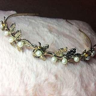 Jewelled Pearl and Gold Headband