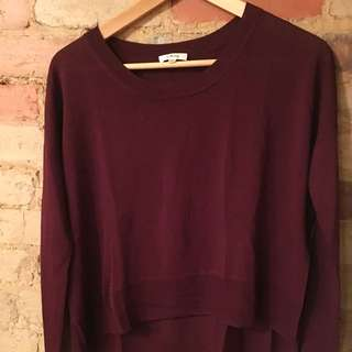 Aritzia Wilfred Burgundy Asymmetrical hem Sweater