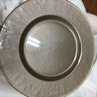 New Silver Taupe Serving Platter Dish