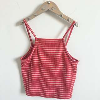 Red Stripped Knit Crop Top