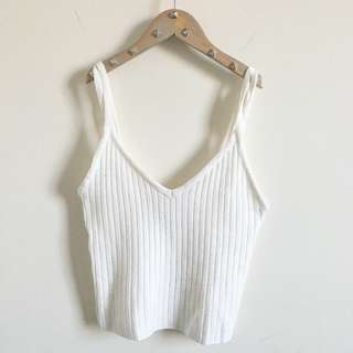 Off White Ribbed Knit Tank