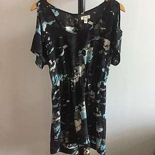 SILENCE & NOISE: Black And Blue Shoulder Cut-out Dress