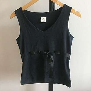 TOMMY HILFIGER: Black Sleeveless Top With Bow