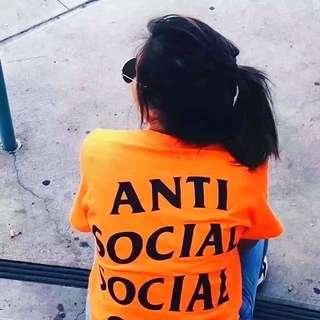 Anti Social Social Club ASSC T-Shirt Black On Orange