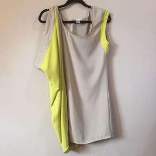 F21 Yellowgreen And Sage Dress