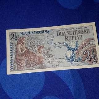 Uang Kertas Kuno 2 1/2 Rupiah Th 1965